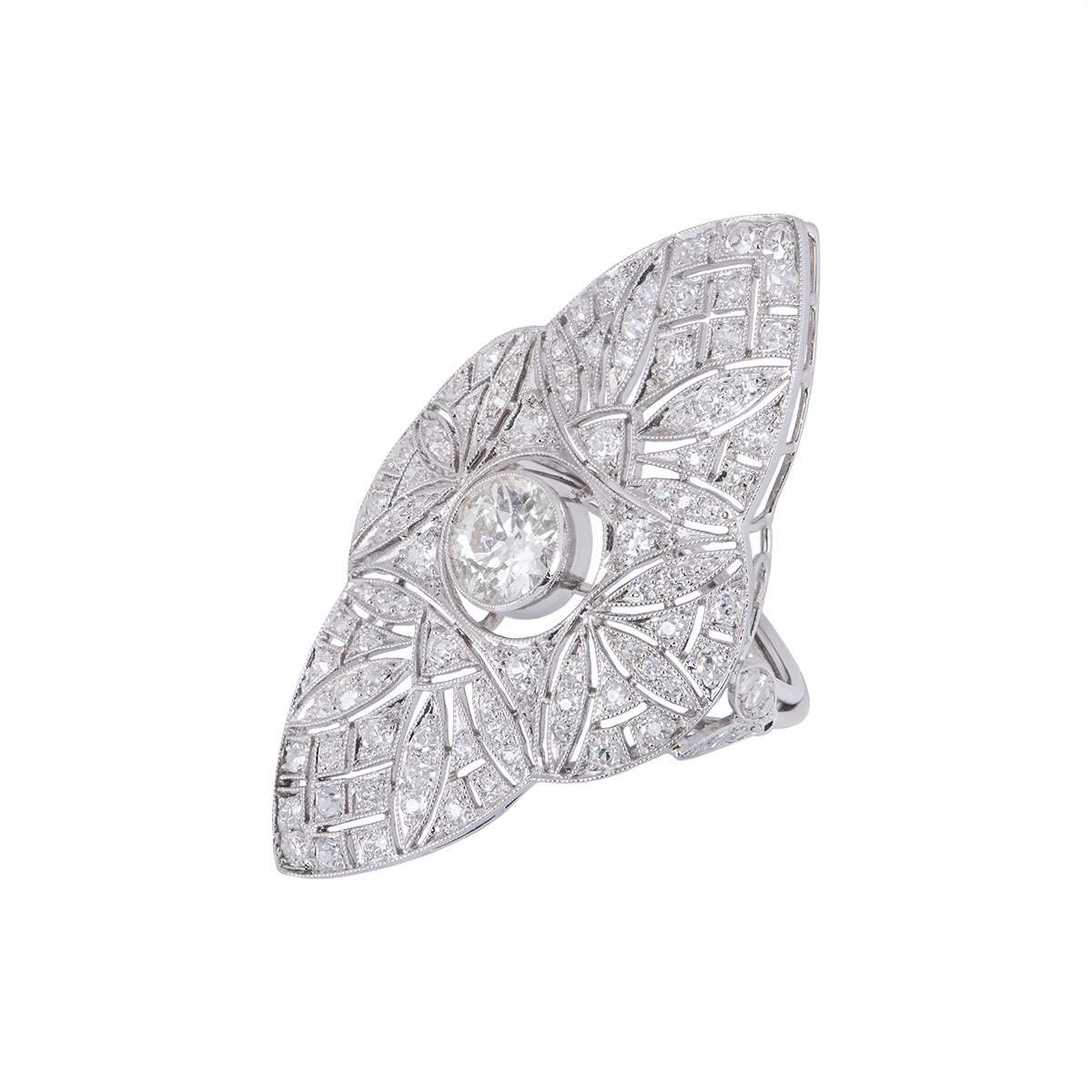 Art Deco Diamond Filigree Dress Ring in Platinum